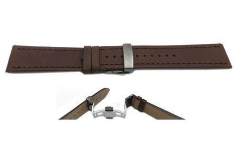 Swiss Army Genuine Brown Leather Infantry Vintage Butterfly Clasp 23mm Watch Band