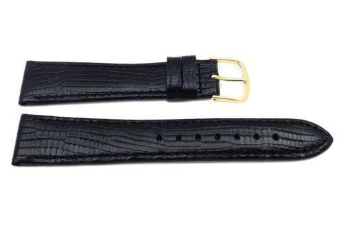 Genuine Leather Lizard Grain Black Semi-Gloss Watch Strap
