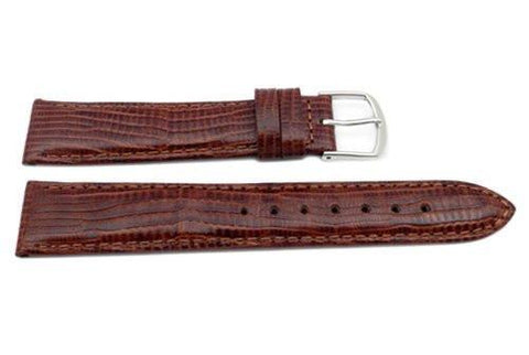 Genuine Leather Lizard Grain Brown Semi-Gloss Watch Band