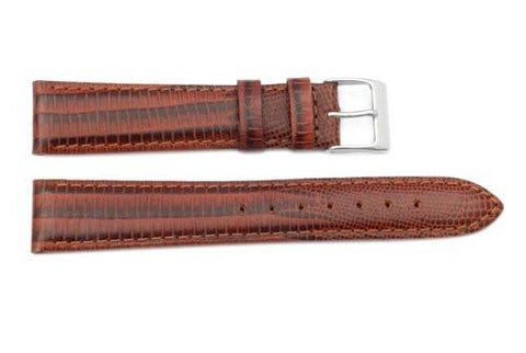 Genuine Leather Round and Square Lizard Grain Brown Semi-Gloss Watch Strap