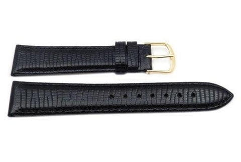 Genuine Leather Round Lizard Grain Black Semi-Gloss Watch Band