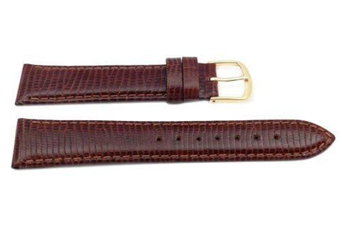 Genuine Leather Round Lizard Grain Brown Semi-Gloss Watch Strap