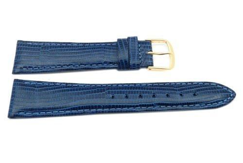 Genuine Leather Round Lizard Grain Blue Matte Watch Band
