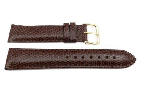 Genuine Leather Round Lizard Grain Brown Matte Watch Band