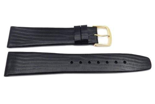 Genuine Textured Leather Lizard Grain Thin Black Matte Watch Band