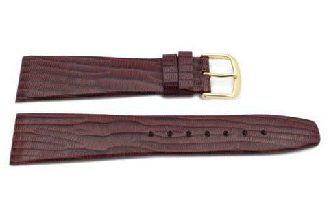 Genuine Textured Leather Lizard Grain Thin Brown Matte Watch Strap