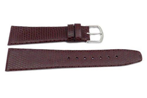 Genuine Textured Leather Round Lizard Grain Thin Burgundy Matte Watch Strap