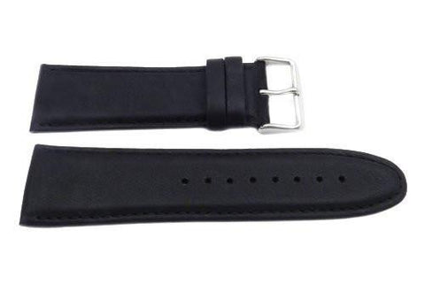 Genuine Smooth Leather Wide 26mm Black Watch Strap
