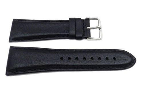 Genuine Textured Leather Wide 28mm Black Watch Band