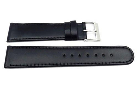 Genuine Smooth Leather Thin Glossy Black Watch Band