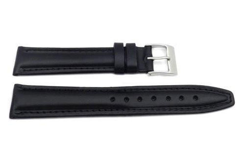 Genuine Smooth Leather Matte Black Watch Strap