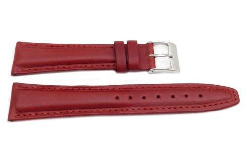 Genuine Smooth Leather Matte Red Watch Band