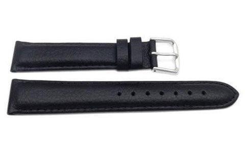 Genuine Textured Leather Matte Black Watch Strap