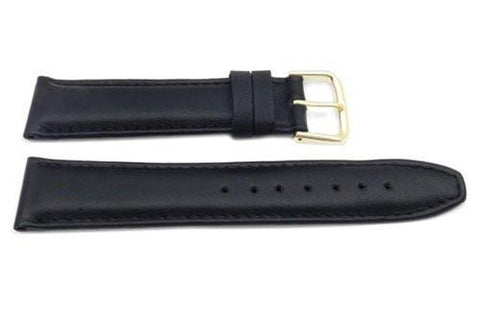 Genuine Smooth Leather Matte Tapered Edge Black Watch Strap