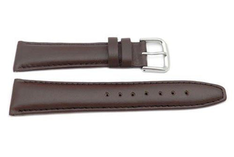 Genuine Smooth Leather Matte Tapered Edge Brown Watch Band