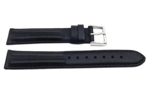 Genuine Smooth Leather Matte Dual Twin Padded Black Watch Band