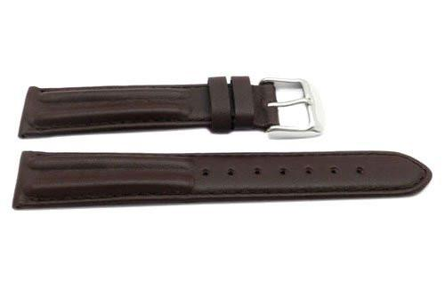 Genuine Smooth Leather Matte Dual Twin Padded Brown Watch Strap