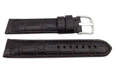 Genuine Leather Long Alligator Grain Brown Matte Watch Band