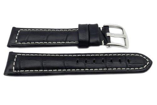 Genuine Leather Long Alligator Grain Black Matte White Stitching Watch Band