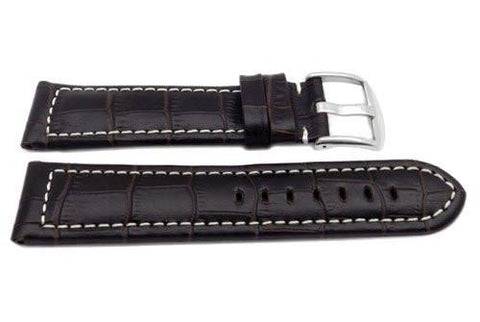 Genuine Leather Long Alligator Grain Brown Matte White Stitching Watch Strap