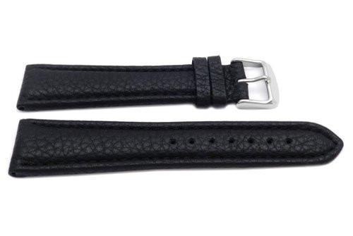 Genuine Leather Long Textured Black Matte Watch Band