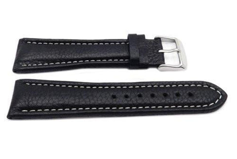Genuine Leather Long Textured Black White Stitching Watch Strap