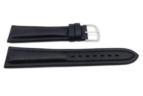 Genuine Leather Long Smooth Dual Padding Black Watch Strap