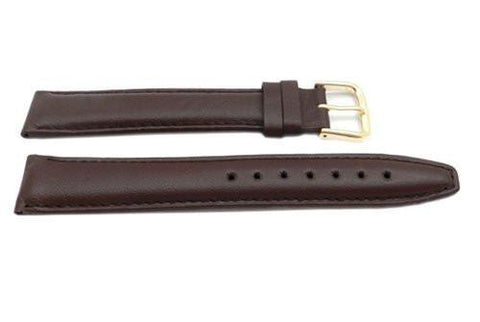 Genuine Leather Long Smooth Brown Tapered Edge Watch Strap