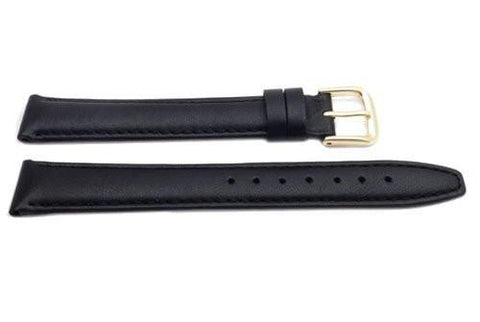 Genuine Leather Long Smooth Black Tapered Edge Watch Band
