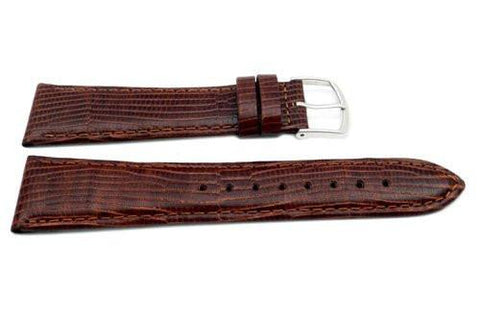 Genuine Leather Lizard Grain Brown 22mm Long Semi-Gloss Watch Strap