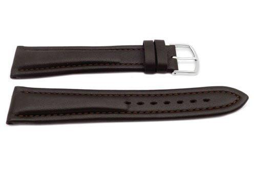 Genuine Leather Extra Long Smooth Dual Padding Brown Watch Band