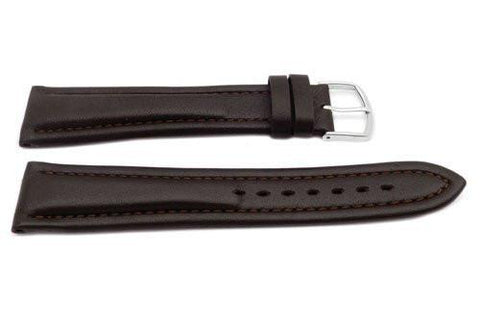 Genuine Leather Long Smooth Dual Padding Brown Watch Band