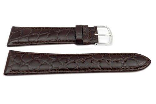 Genuine Leather Long Crocodile Grain Brown Semi-Gloss Watch Band