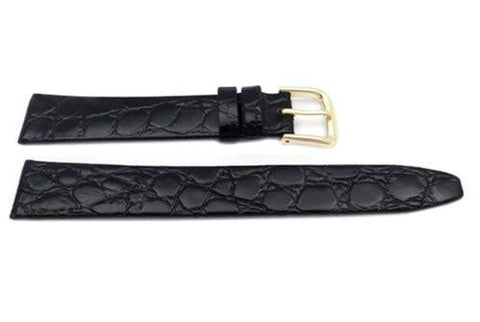 Genuine Leather Crocodile Grain Black Semi-Gloss Watch Band