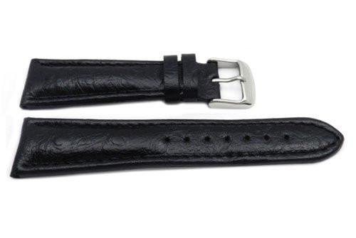 Genuine Leather Textured Black Dual Padding Semi-Gloss Watch Strap