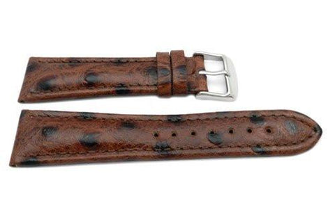 Genuine Leather Textured Black Dotted Brown Dual Padding Semi-Gloss Watch Strap