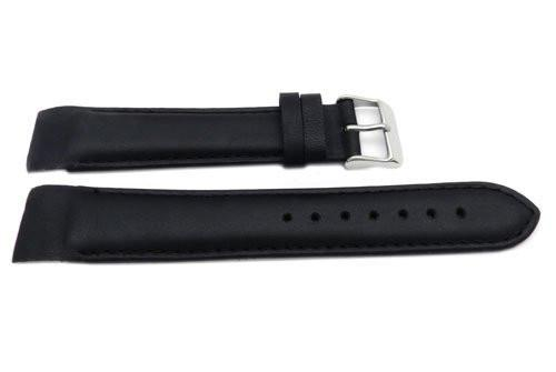 Genuine Leather Smooth Black Matte Watch Band