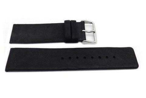 Genuine Leather Smooth Wide Black 24mm Matte Watch Band