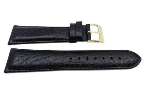 Genuine Leather Textured Black Semi-Gloss Watch Strap