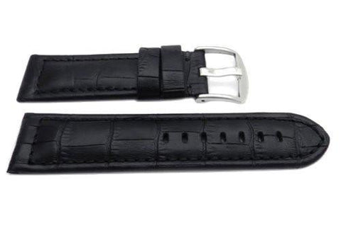 Genuine Leather Alligator Grain Black Matte Watch Strap