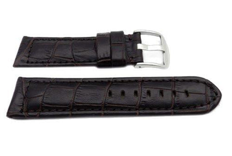Genuine Leather Alligator Grain Brown Matte Watch Strap