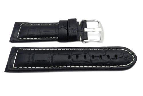 Genuine Leather Alligator Grain Black Matte White Stitching Watch Strap