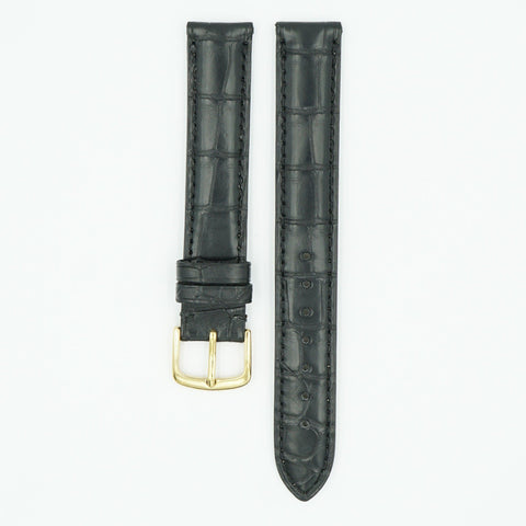 Genuine Matte Black Long Alligator Watch Strap
