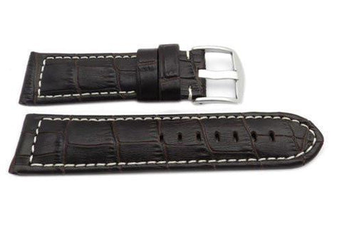 Genuine Leather Alligator Grain Brown Matte White Stitching Watch Band
