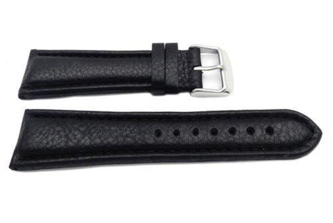 Genuine Leather Textured Black Matte Watch Strap