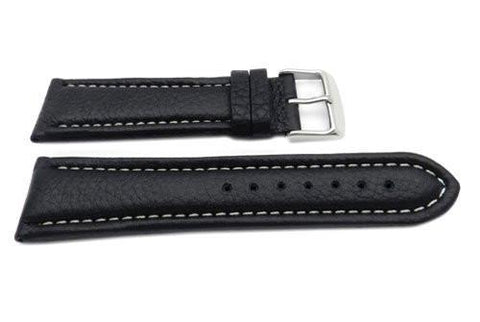 Genuine Leather Textured Black White Stitching Watch Strap