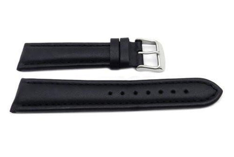 Genuine Leather Smooth Black Matte Watch Strap
