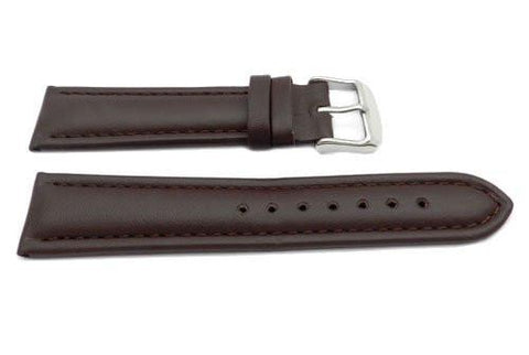 Genuine Leather Smooth Brown Matte Watch Band