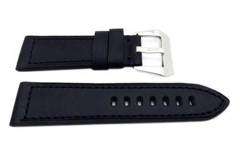 Genuine Leather Smooth Black Panerai Blue Stitching Watch Band