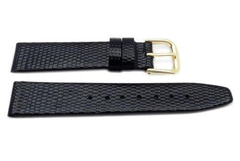 Genuine Leather Textured Black Short Glossy Lizard Grain 15mm Watch Strap